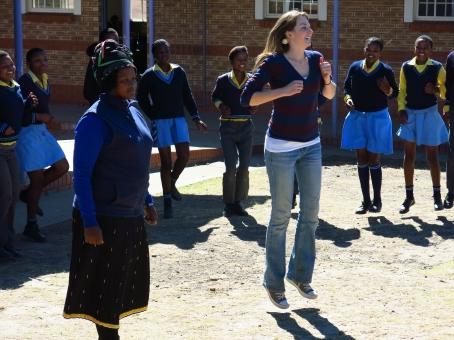 "LAND Project Associates Nobuntu Nkwezi and Valerie Stull teaching ""Simon says"" to the children at Manzimdaka school"